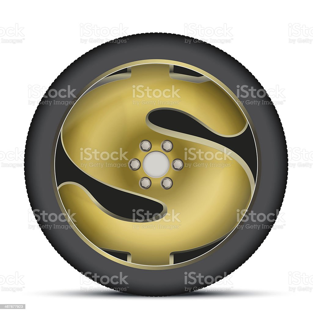 Car wheel in the form of a dollar sign vector art illustration
