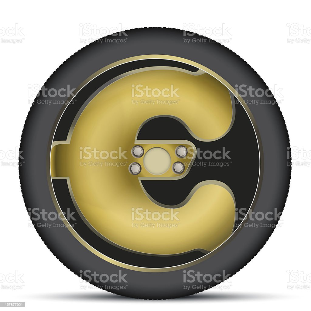 Car wheel in the form of a euro sign vector art illustration