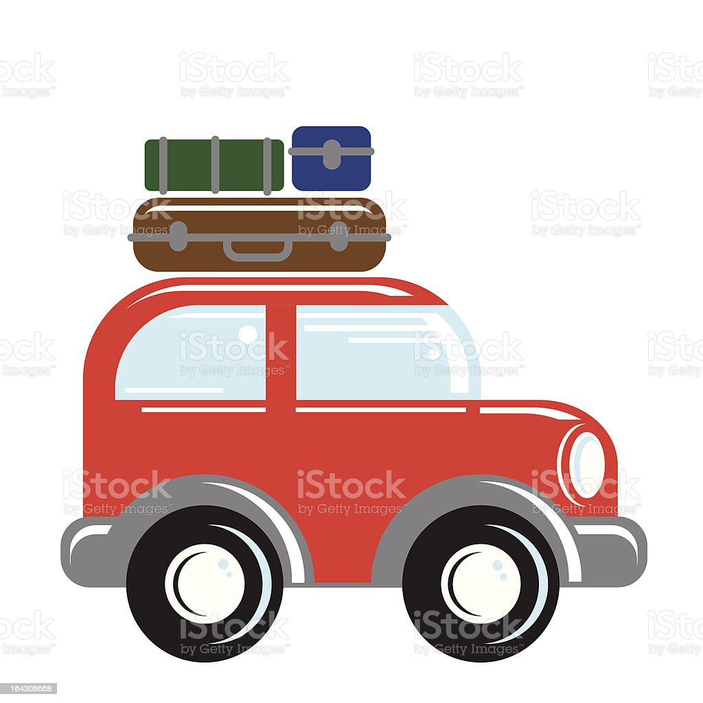 car with luggage on top royalty-free stock vector art