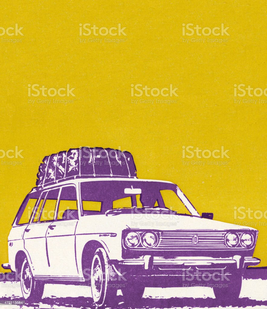Car With Package on Roof vector art illustration
