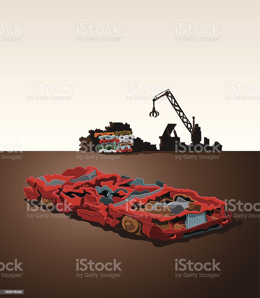 Car Wreck vector art illustration