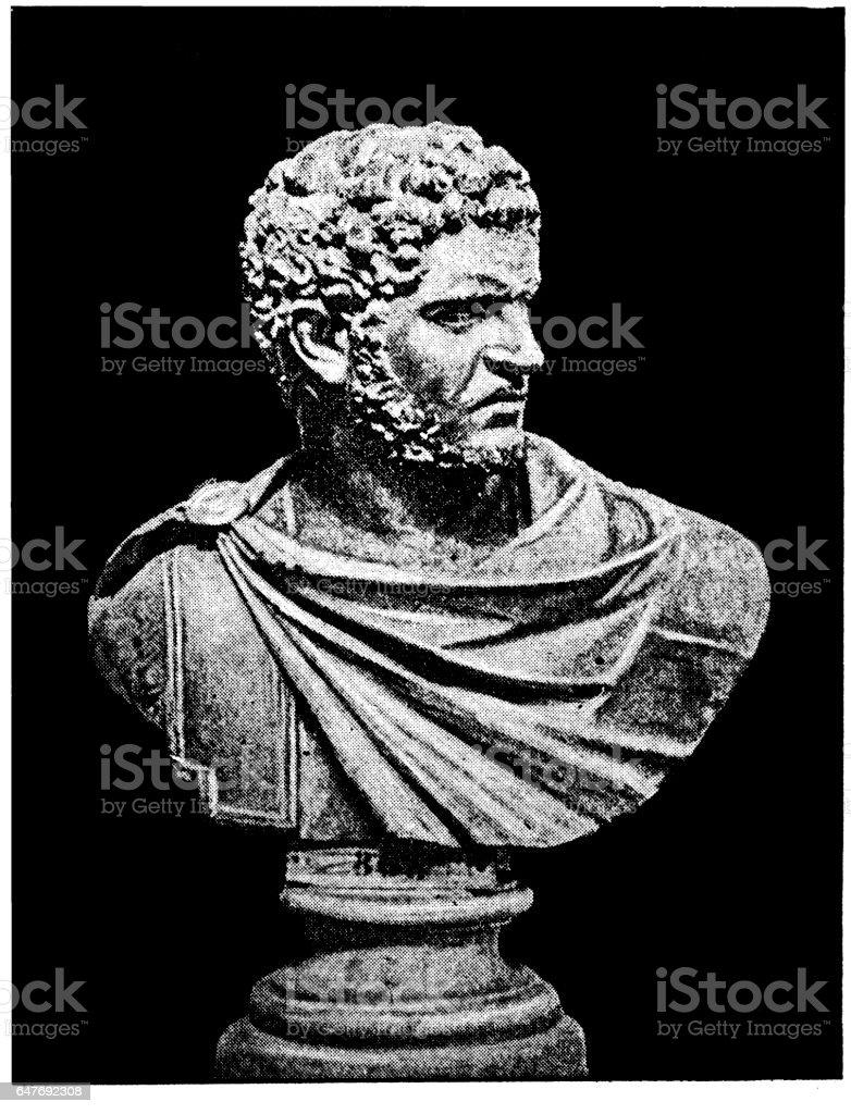 Caracalla ,formally Marcus Aurelius Severus Antoninus Augustus vector art illustration