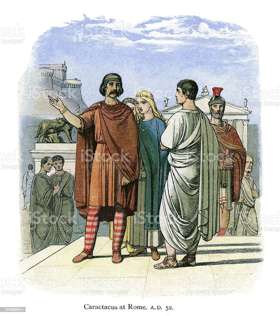 Caractacus at Rome AD 52 vector art illustration