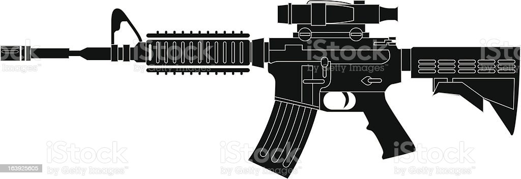M4 Carbine Assault Rifle - Vector vector art illustration