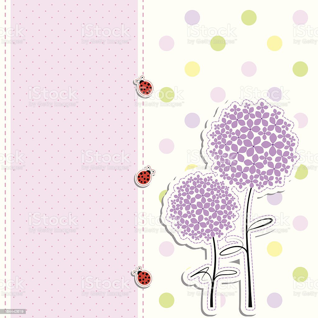 card design purple flowers,ladybirds on polka dot background royalty-free stock vector art