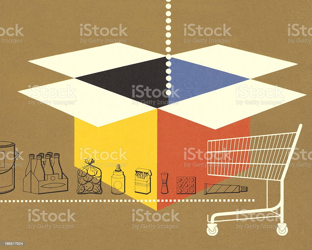 Cardboard Box and Shopping Cart royalty-free stock vector art
