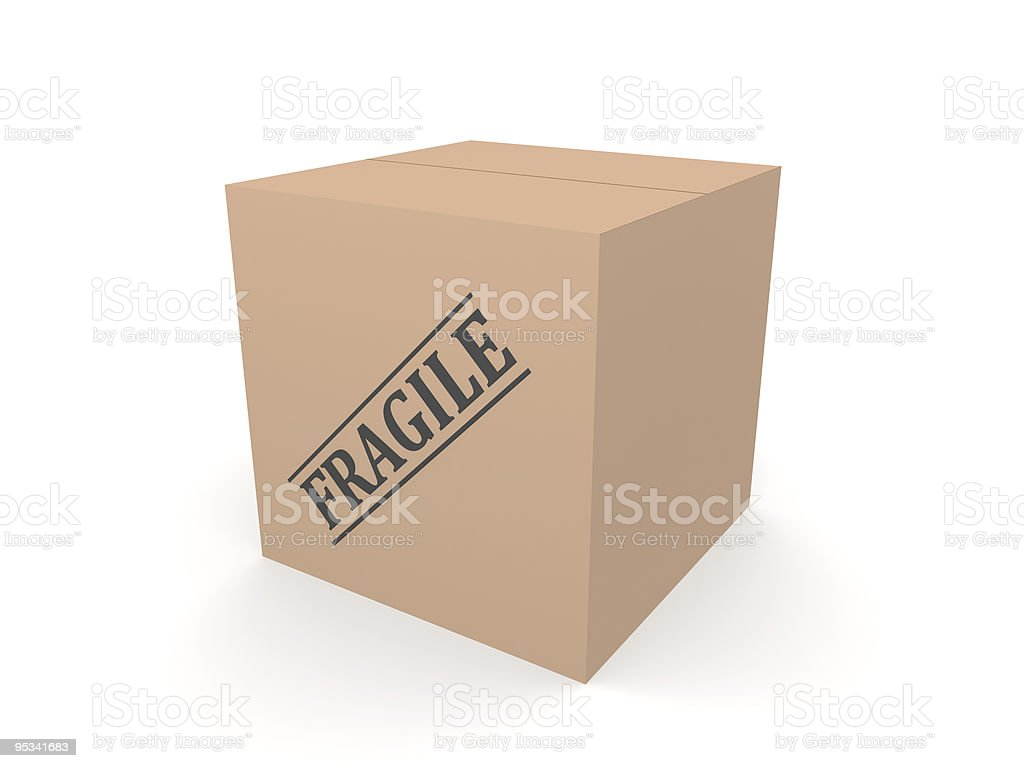 3D cardboard box Fragile royalty-free stock vector art