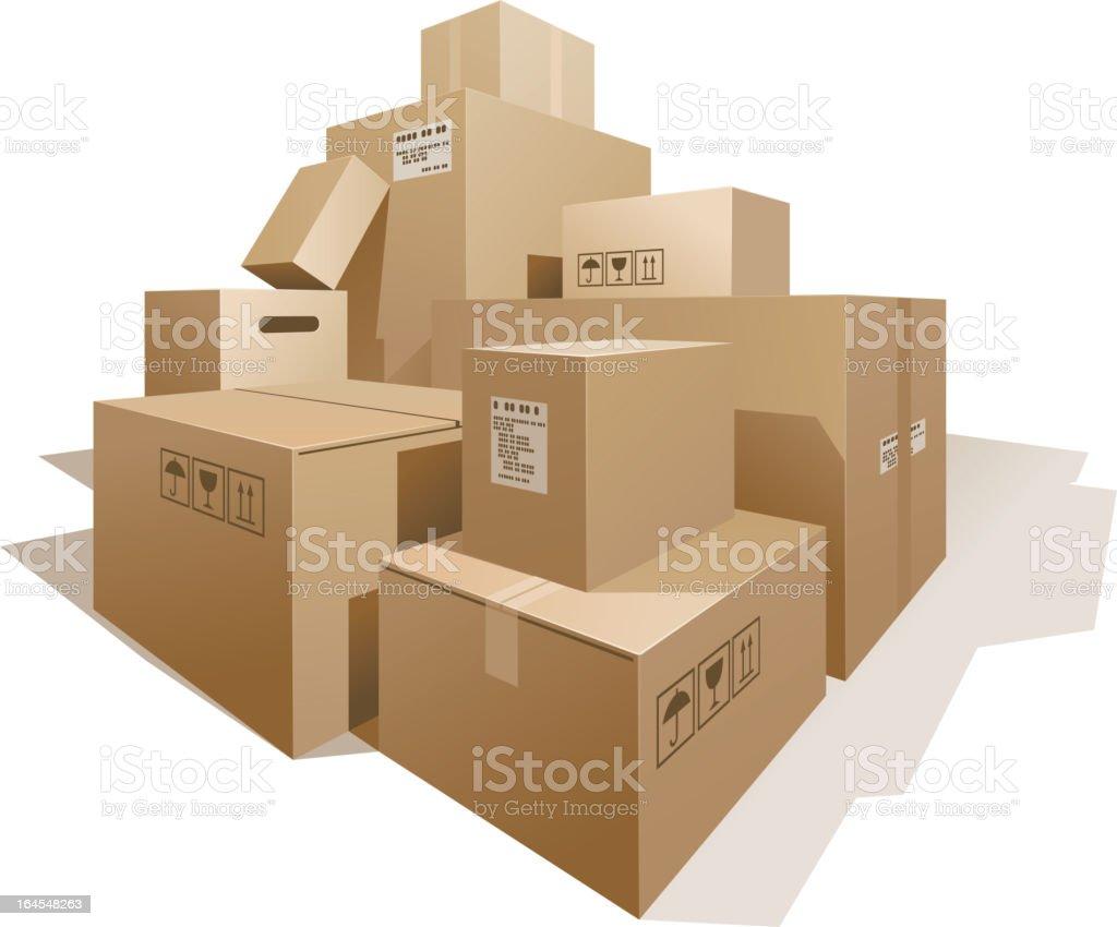 Cardboard bохеs vector art illustration