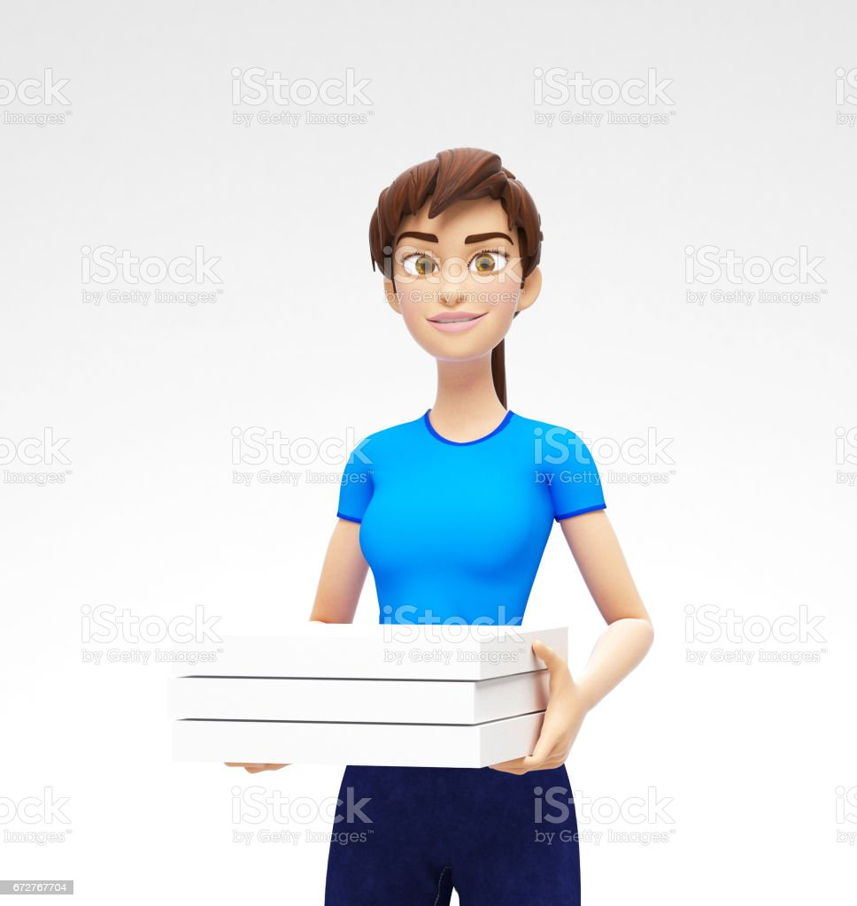 Cardboard Pizza Box and Package Mockup Held by Smiling and Happy Jenny - 3D Cartoon Female Character in Casual Clothes vector art illustration