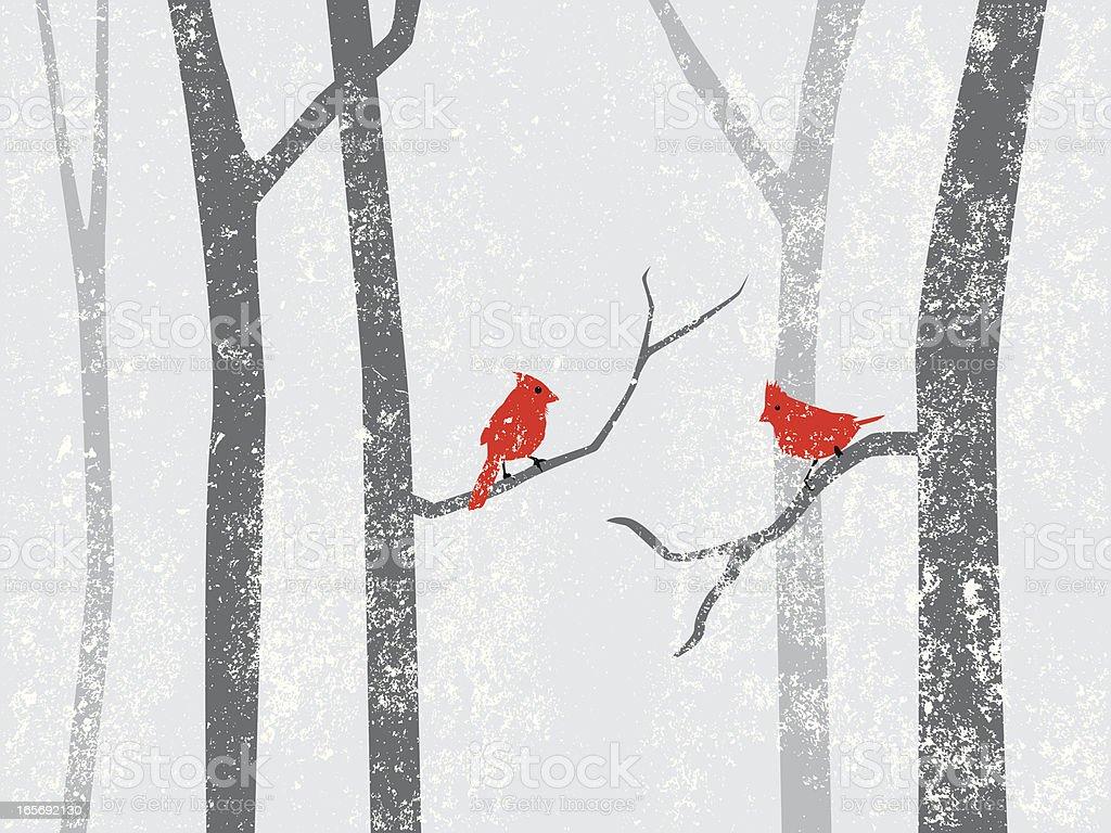 cardinals in snow storm vector art illustration