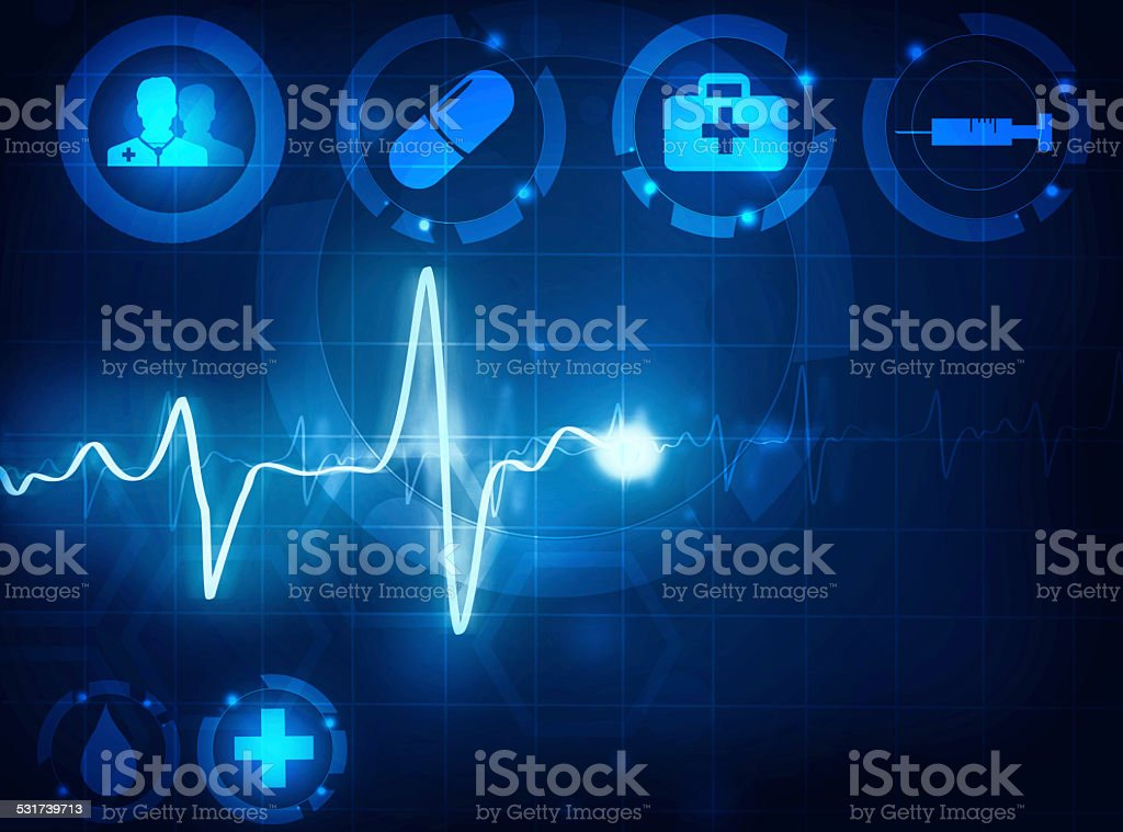 cardiogram wave medical background vector art illustration