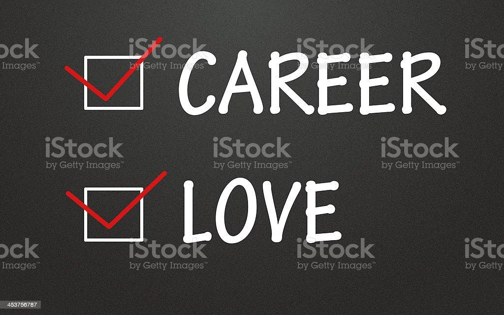 career and love choice vector art illustration
