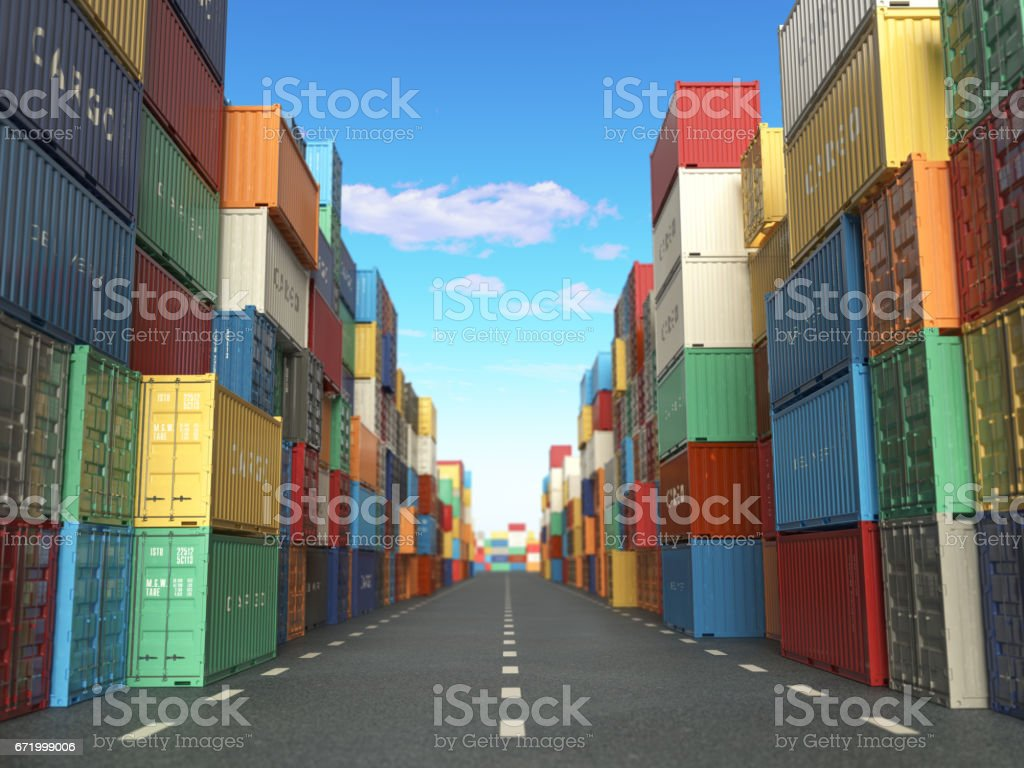 Cargo containers in shipping yard. Delivery shipping logistic  industrial concept. vector art illustration