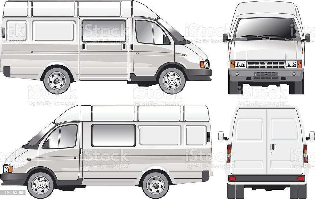 Cargo-Passenger bus vector art illustration