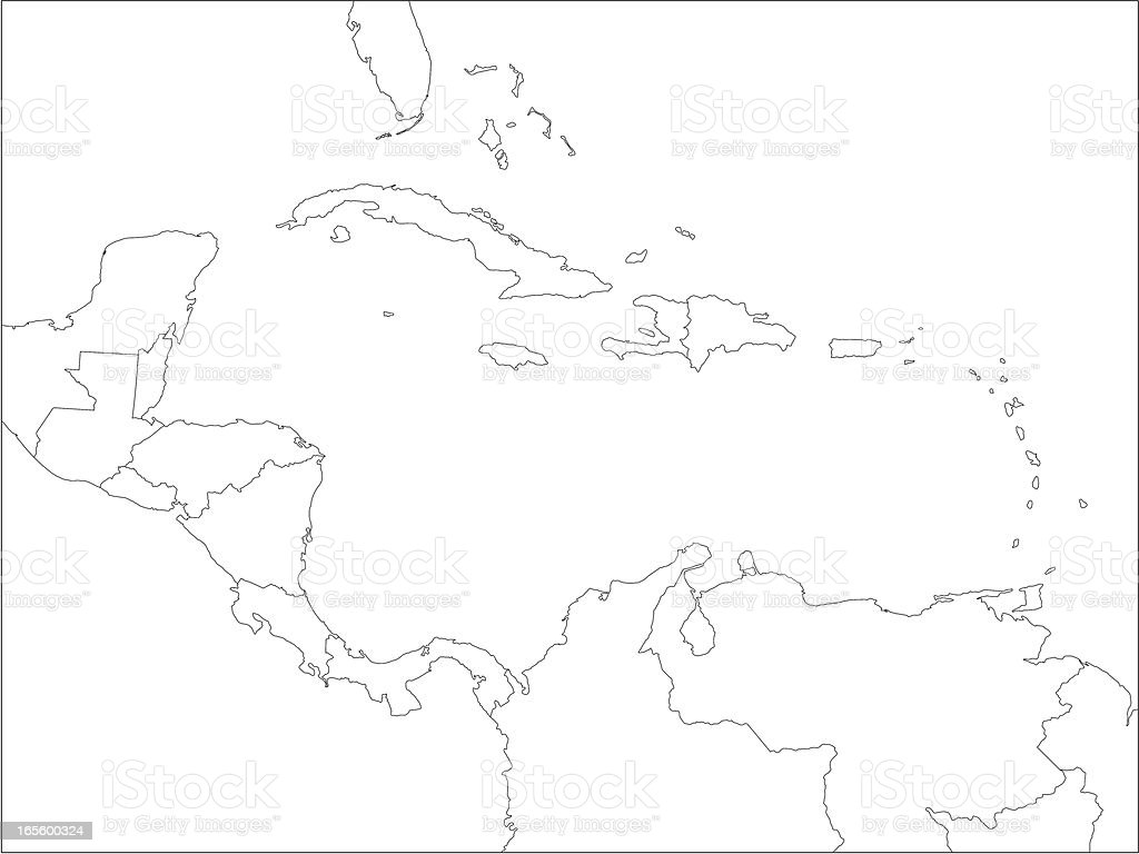 Caribbean line map. royalty-free stock vector art