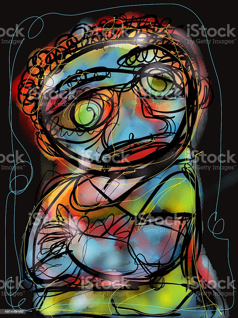 Caricature of a troubled man vector art illustration