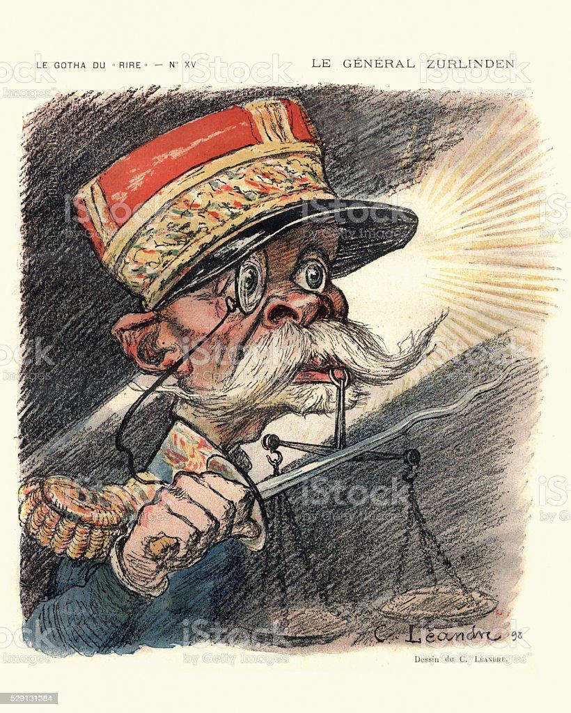 Caricature of General Emile Zurlinden vector art illustration