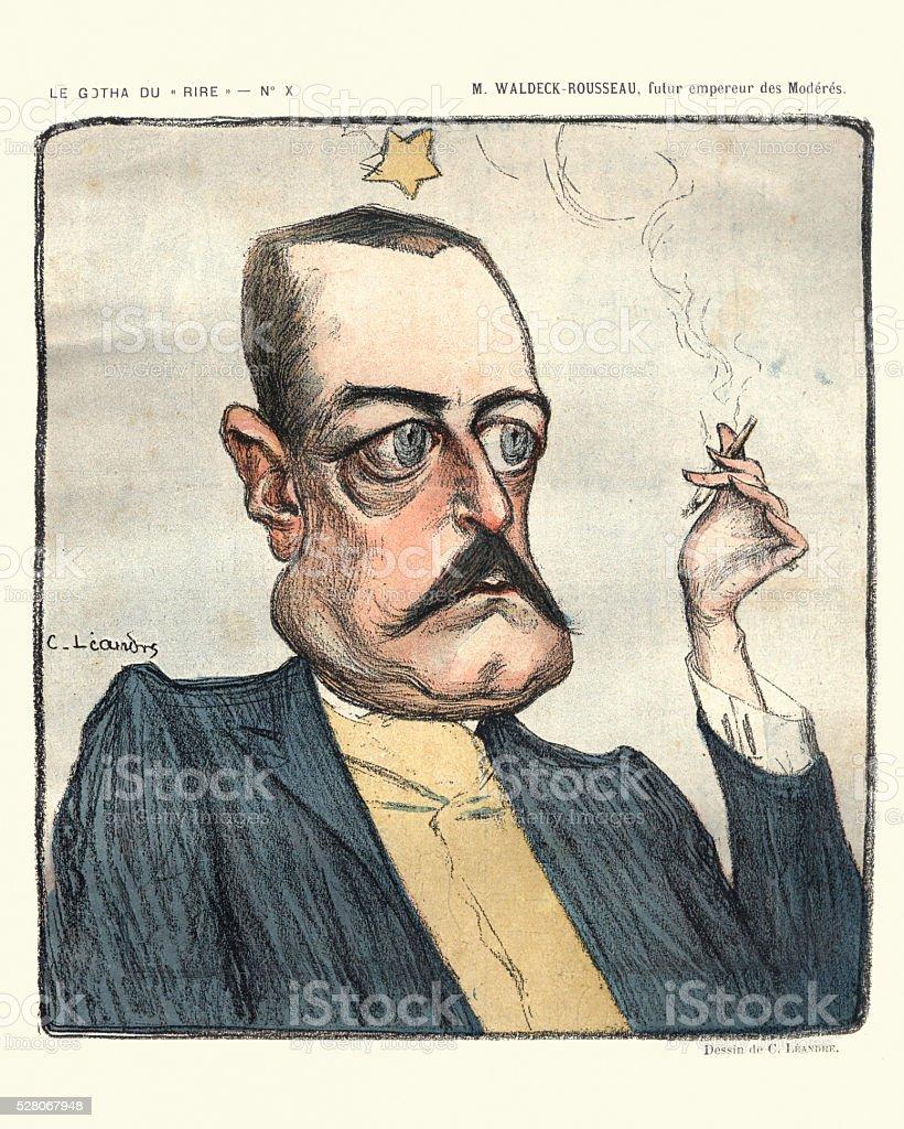 Caricature of Pierre Waldeck-Rousseau vector art illustration