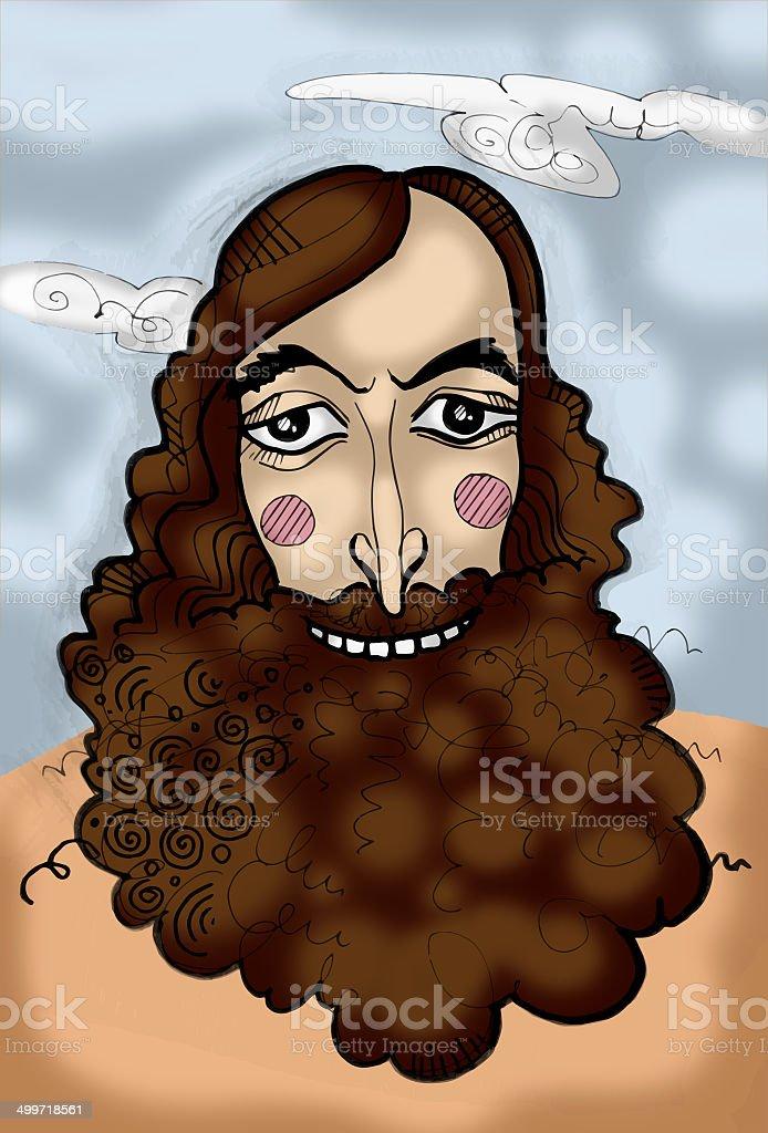 Caricature portrait of bearded men royalty-free stock vector art