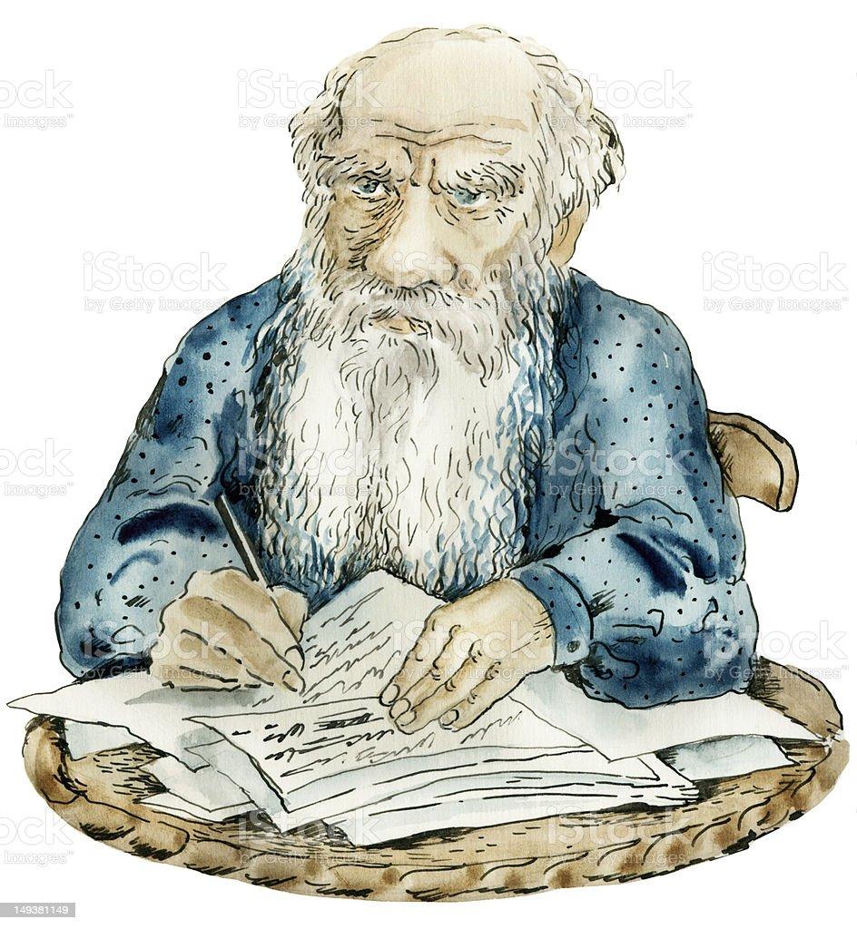 Caricature portrait of Leo Tolstoy vector art illustration