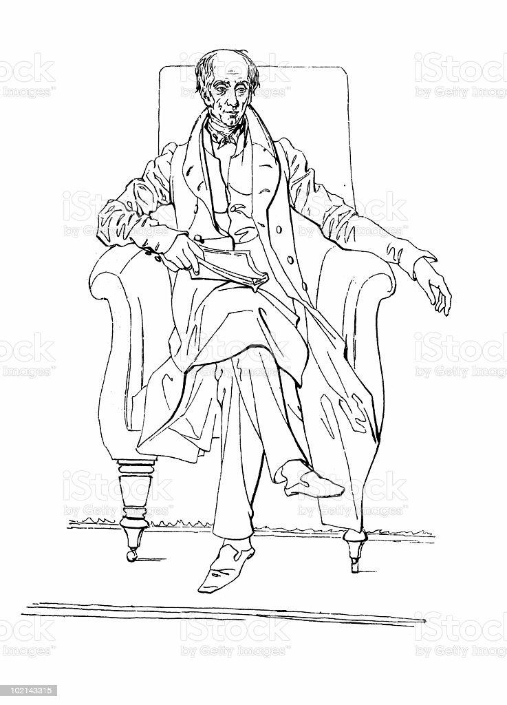 Caricature Portrait of William Wordsworth royalty-free stock vector art