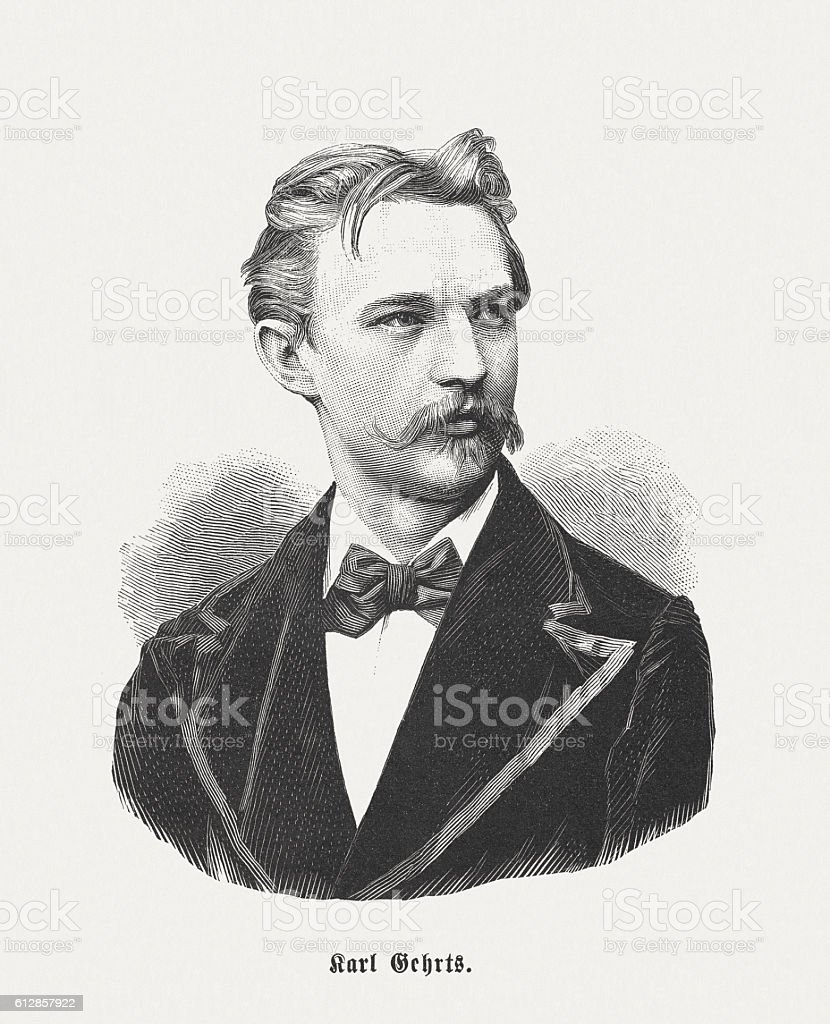 Carl Gehrts (1853-1898), German painter, wood engraving, published in 1882 vector art illustration