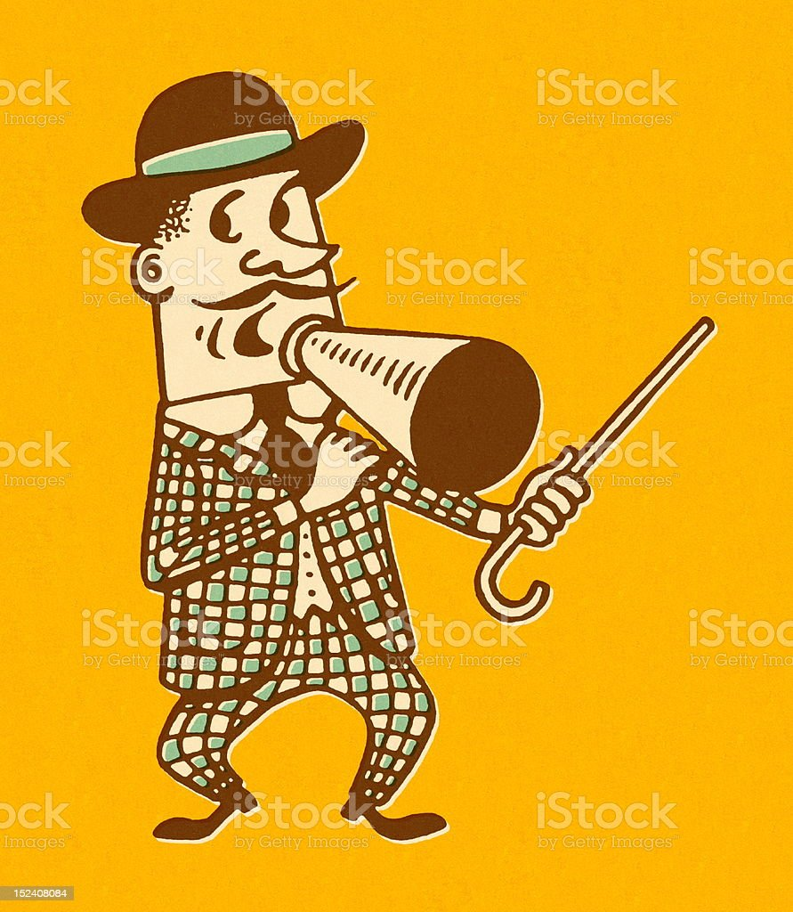 Carnival Barker With Cane and Megaphone royalty-free stock vector art