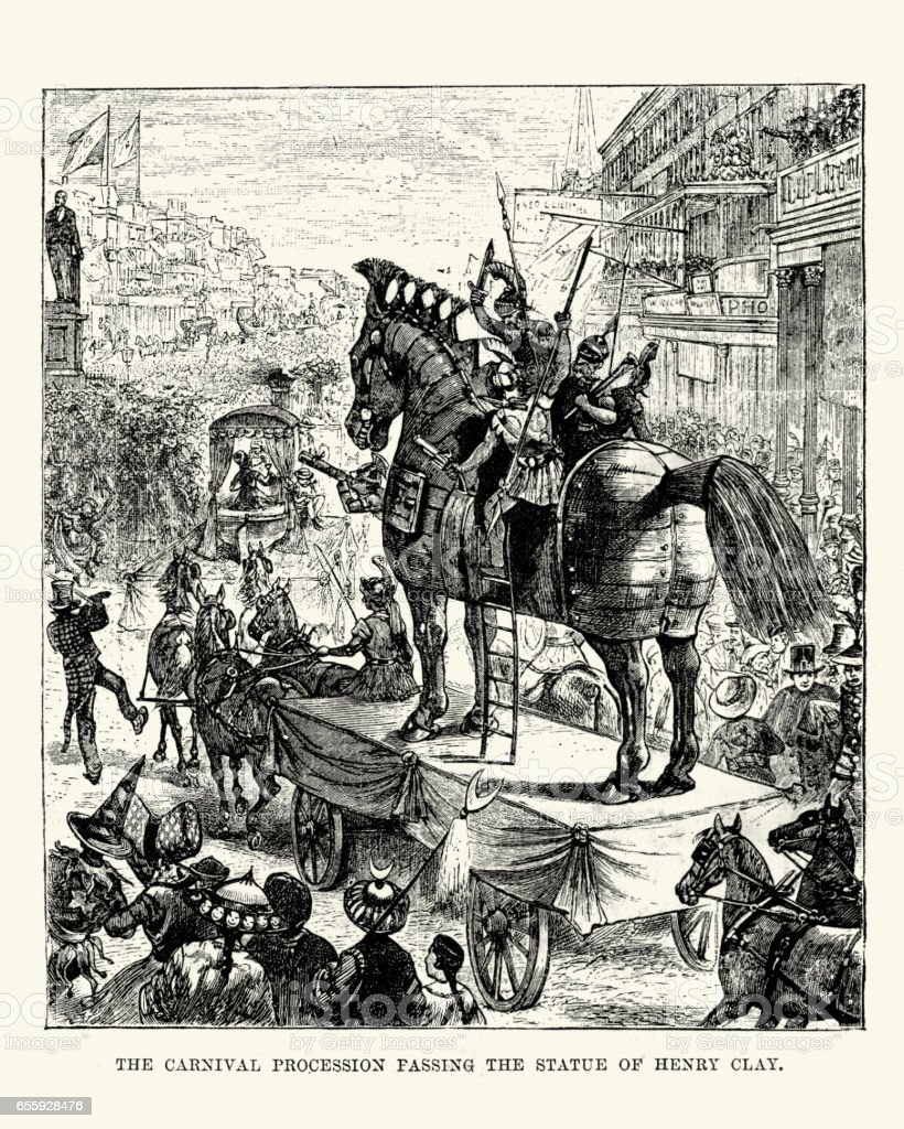 Carnival procession, New Orleans, 19th Century vector art illustration