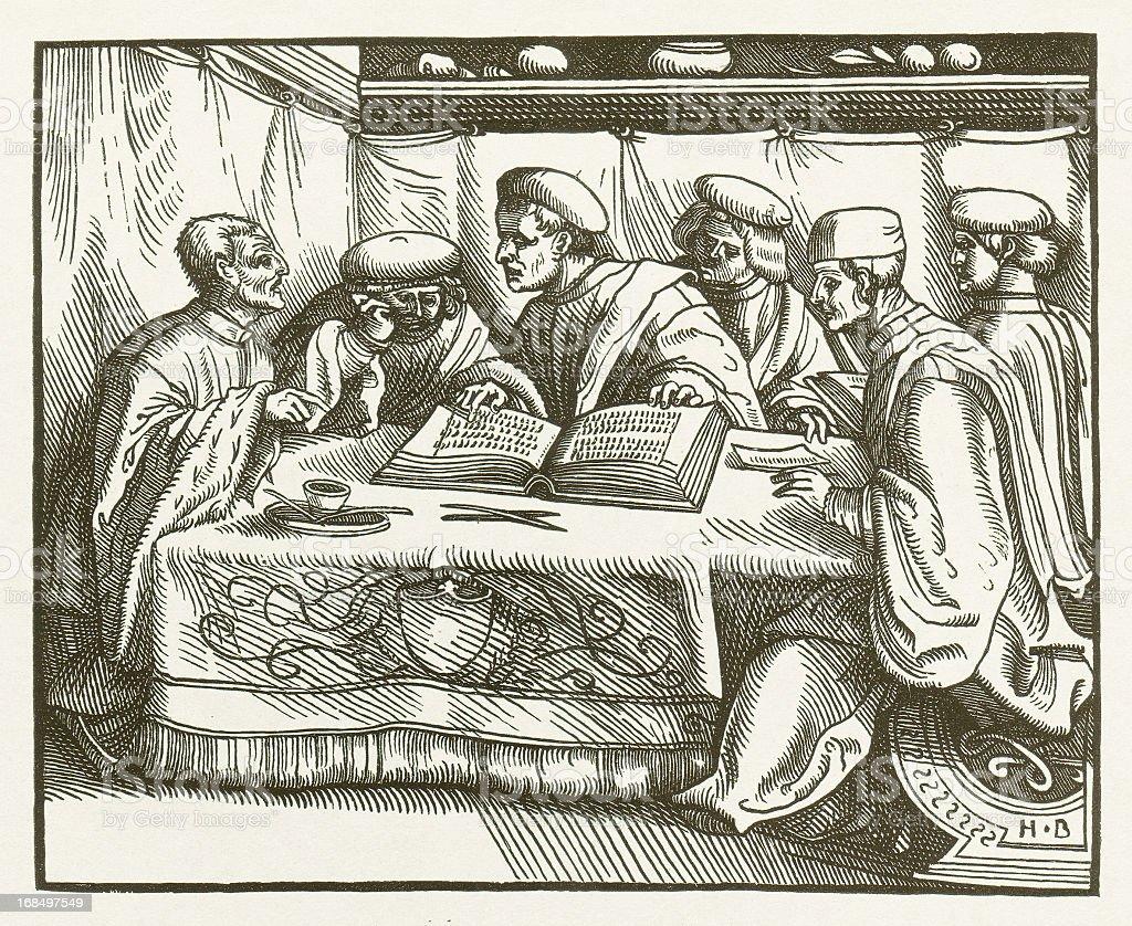 Carolina, first German criminal law (1532), wood engraving, published 1881 vector art illustration