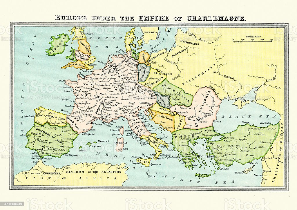 Carolingian Empire - Map of Europe Under Charlemagne vector art illustration
