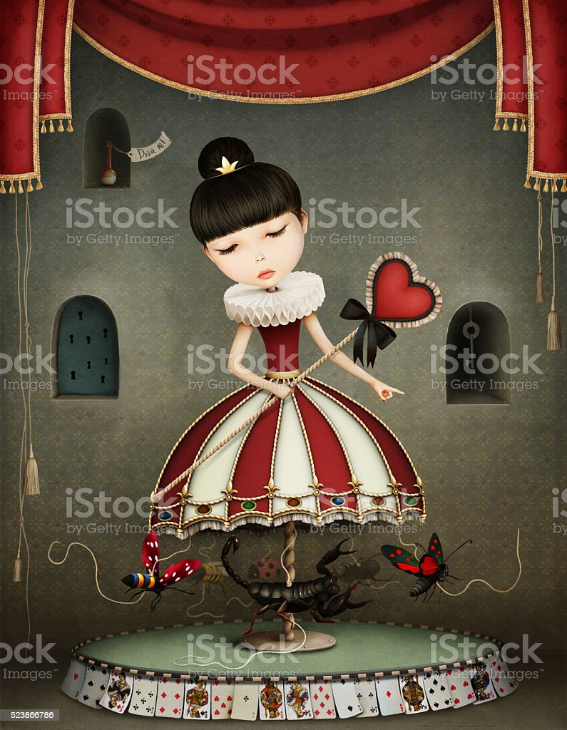 Carousel girl vector art illustration