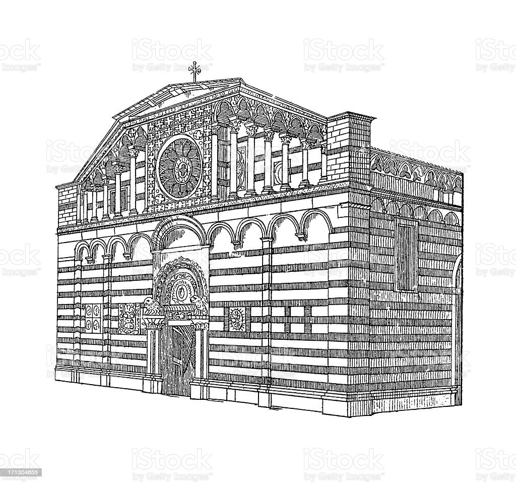 'Carrara Cathedral, Tuscany, Italy | Antique Architectural Illust' vector art illustration