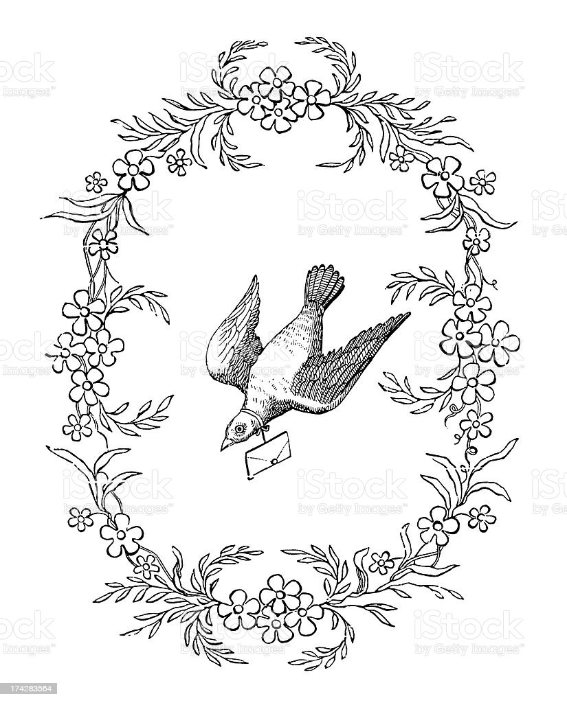 Carrier Pigeon,19th century. royalty-free stock vector art