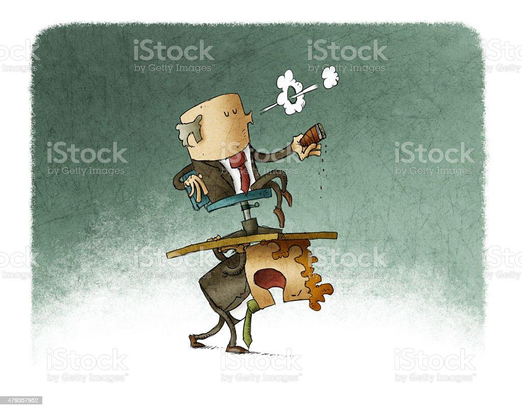 carrying boss vector art illustration