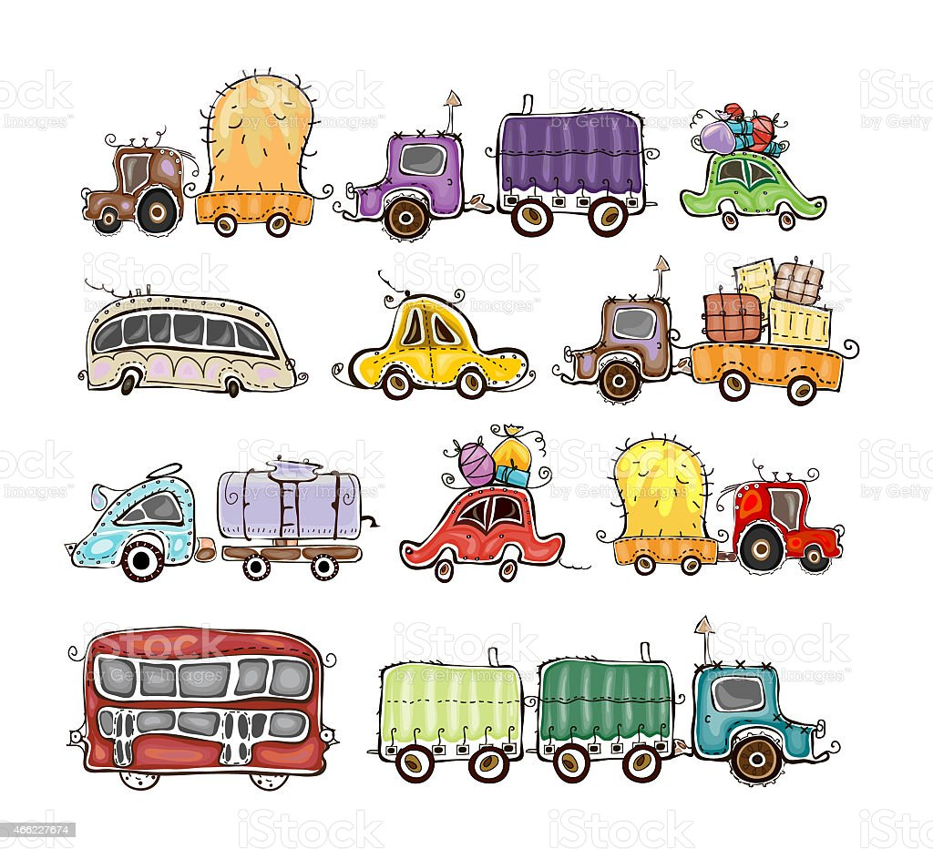 Cars and lorries set, city transport vector art illustration