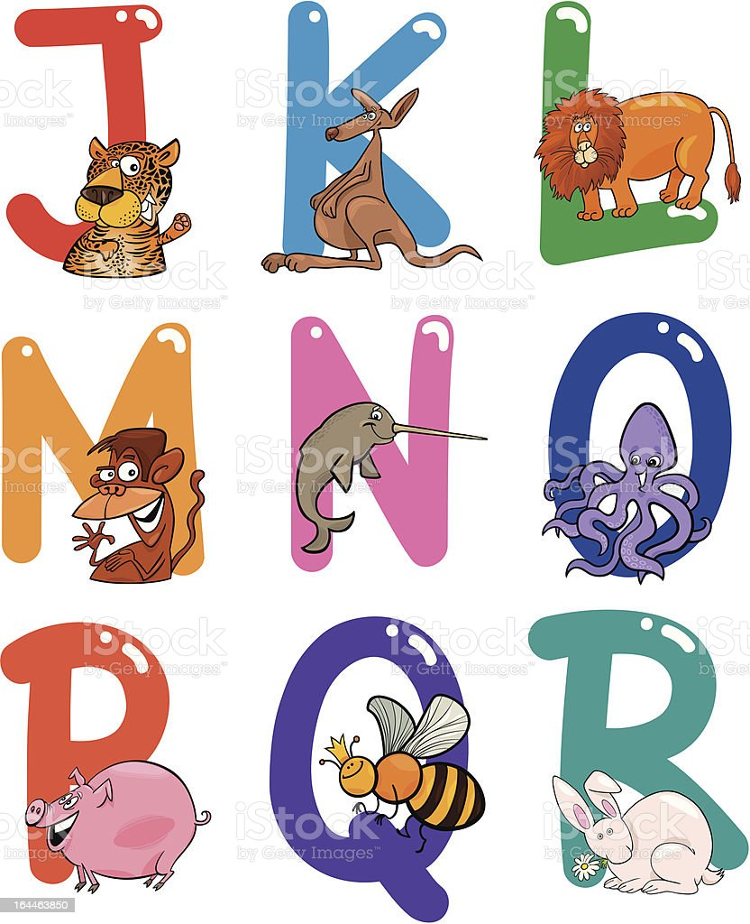 Cartoon Alphabet with Animals royalty-free stock vector art