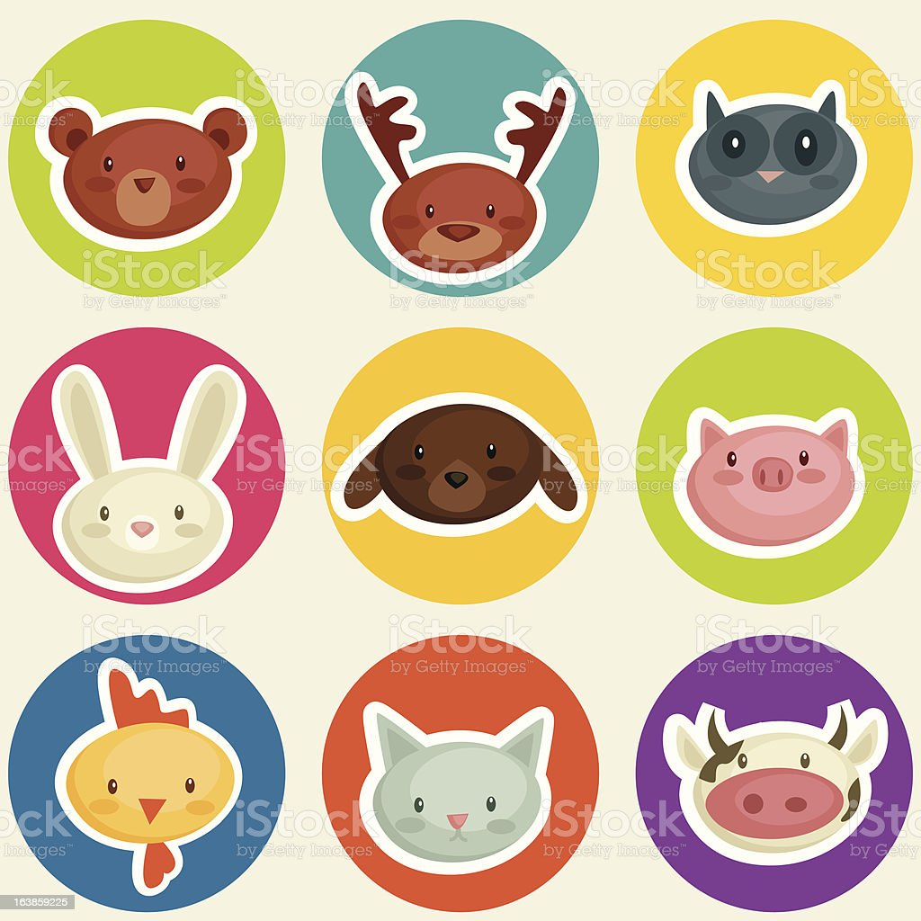 cartoon animal head stickers royalty-free stock vector art
