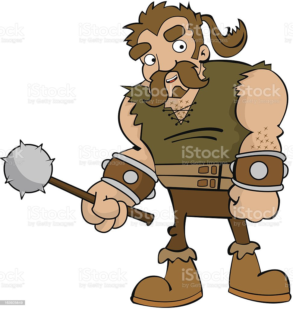 cartoon barbarian on white background royalty-free stock vector art