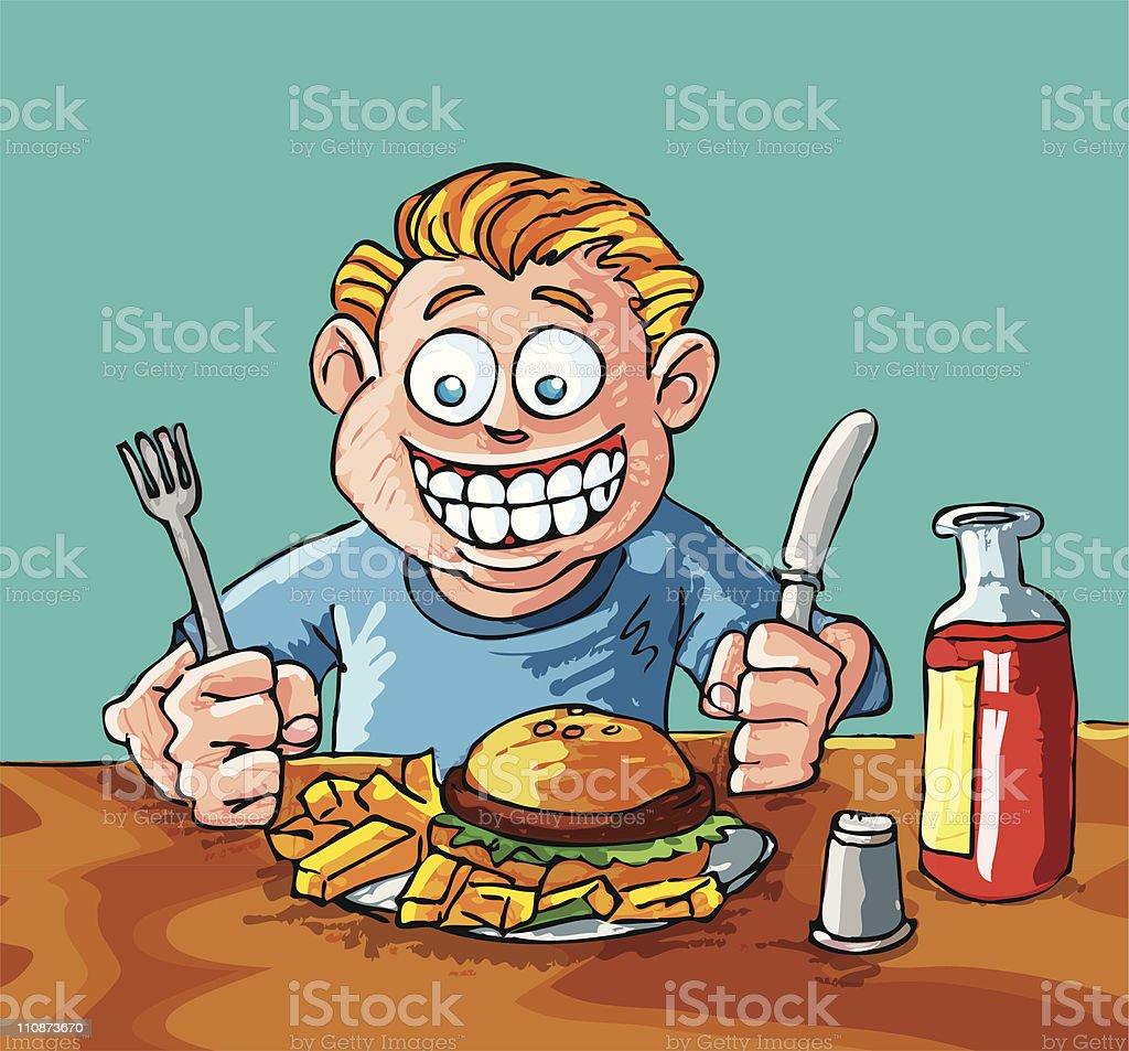 Cartoon boy eating a hamburger and fries vector art illustration