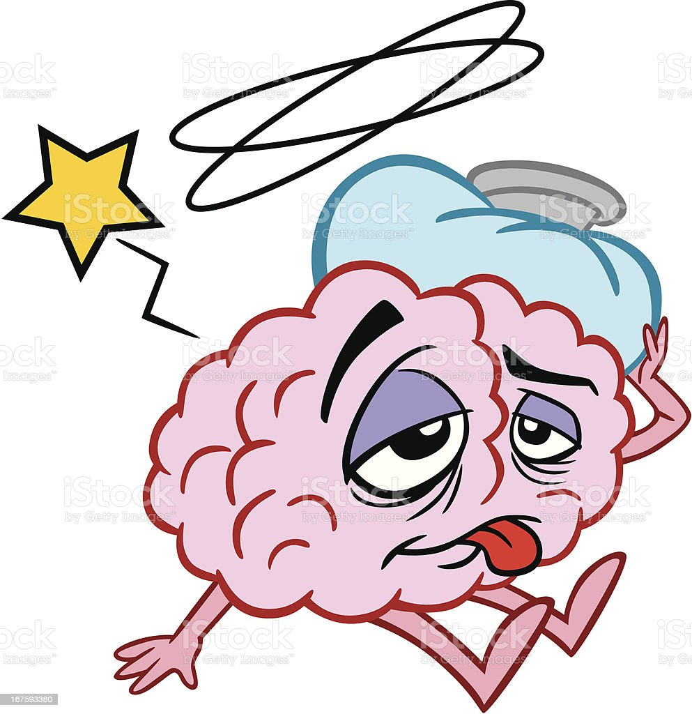 Cartoon Brain Sick royalty-free stock vector art