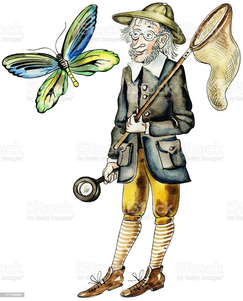 Cartoon butterfly hunter vector art illustration