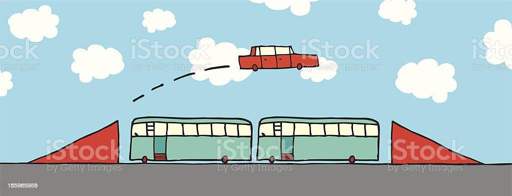 Cartoon car jumping buses royalty-free stock vector art