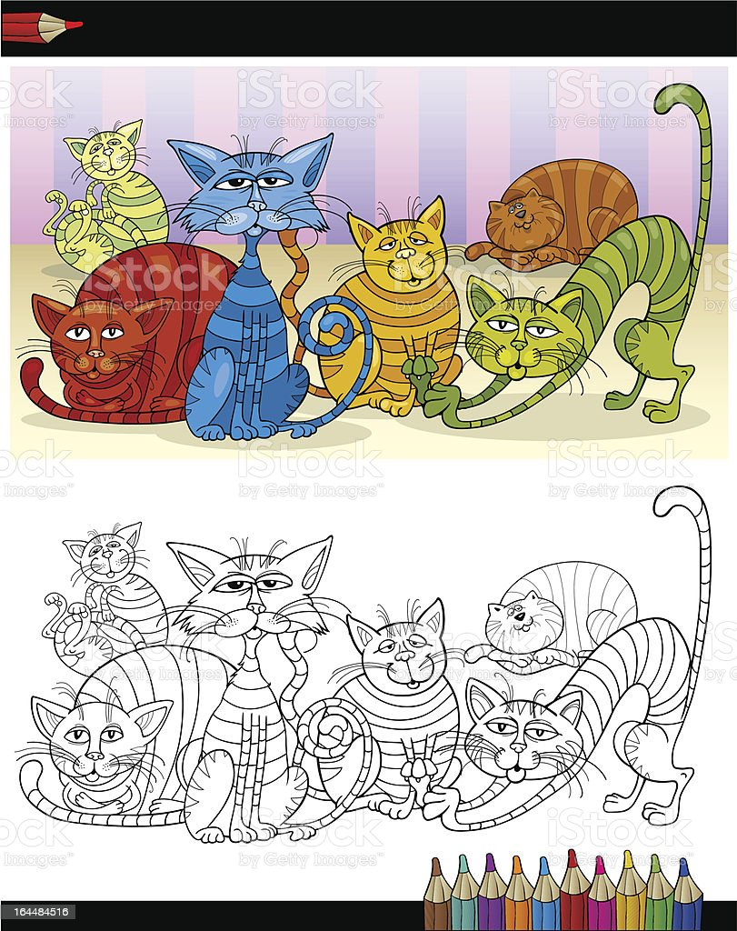 Cartoon Cats for Coloring Book or Page royalty-free stock vector art