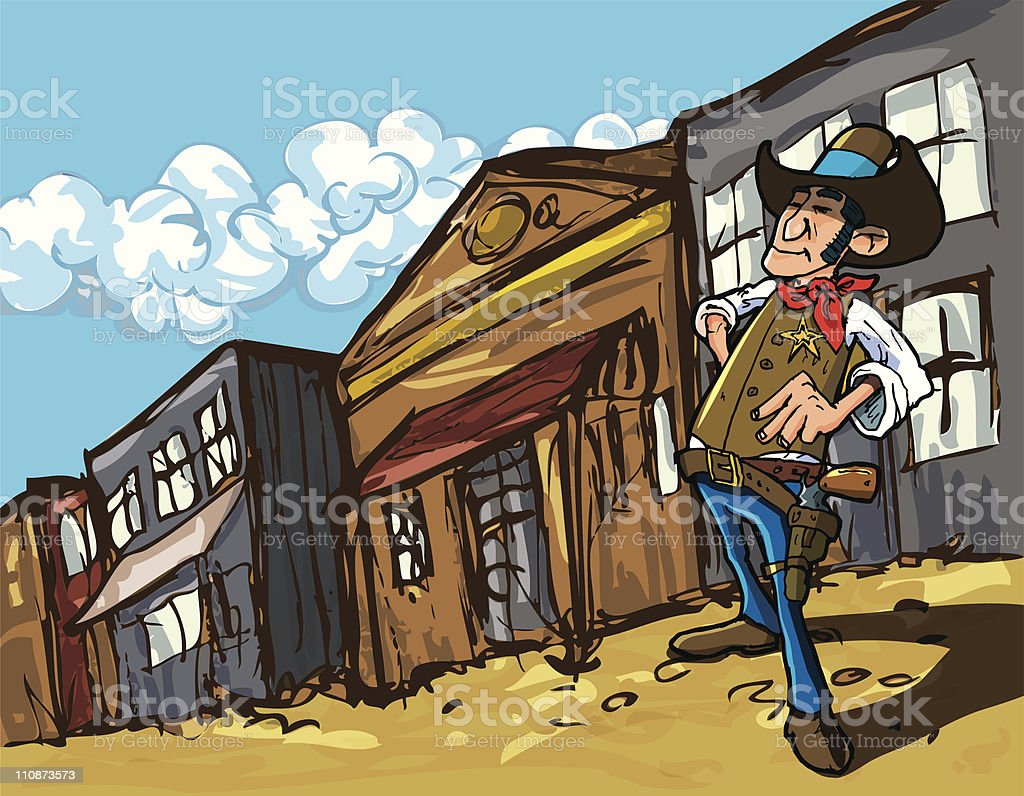 Cartoon cowboy sheriff in a dusty town street royalty-free stock vector art