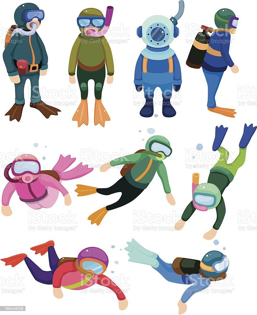 cartoon Diver vector art illustration