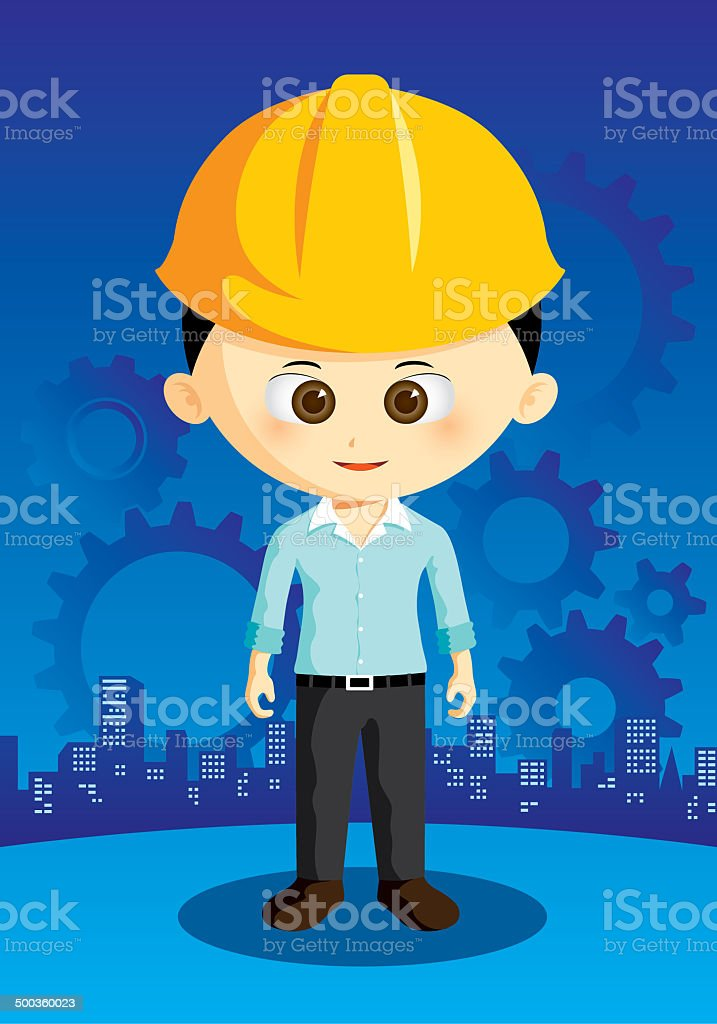 cartoon engineer with city and gear on background royalty-free stock vector art