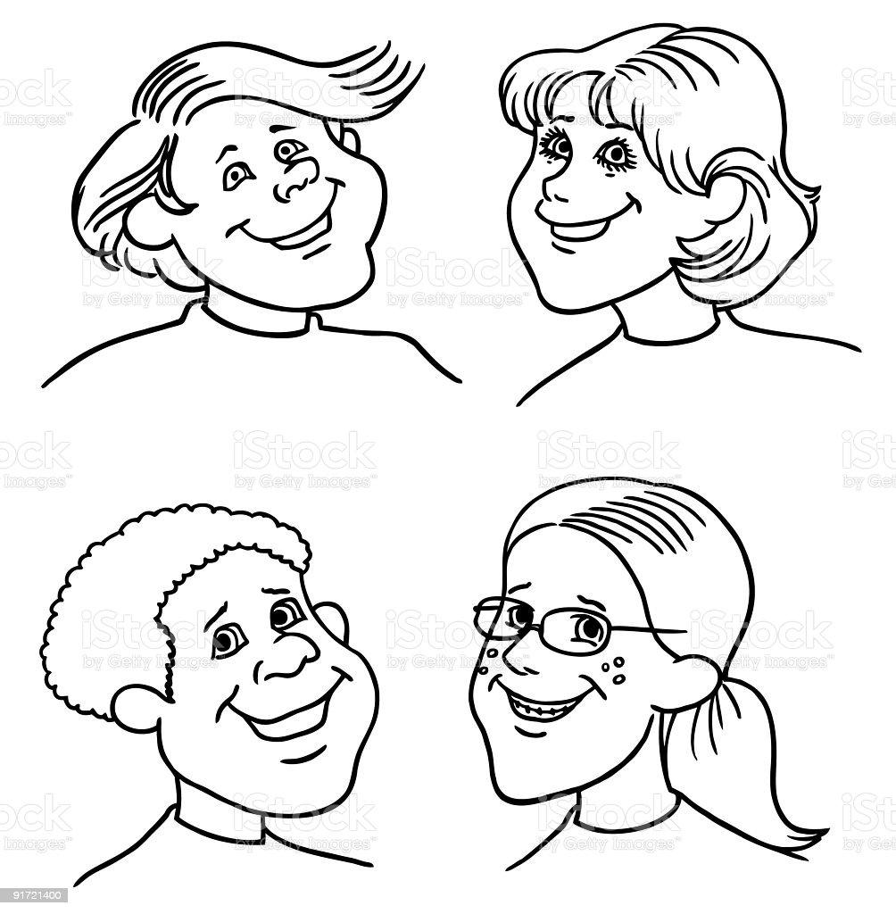Cartoon Faces1 royalty-free stock vector art