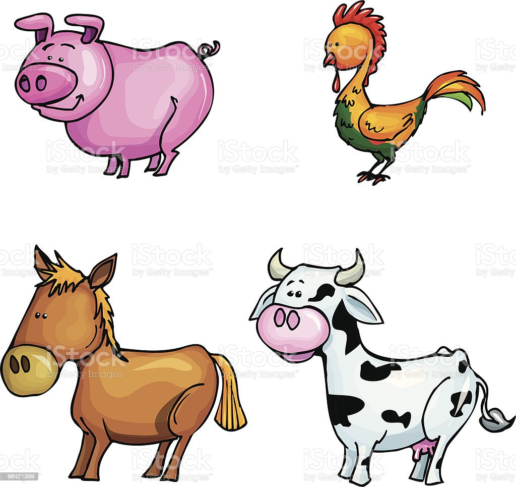 Cartoon farm animals royalty-free stock vector art