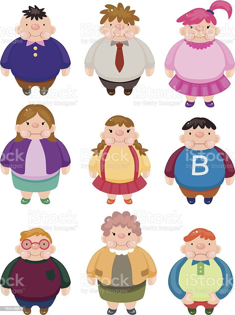 cartoon fat people icons royalty-free stock vector art