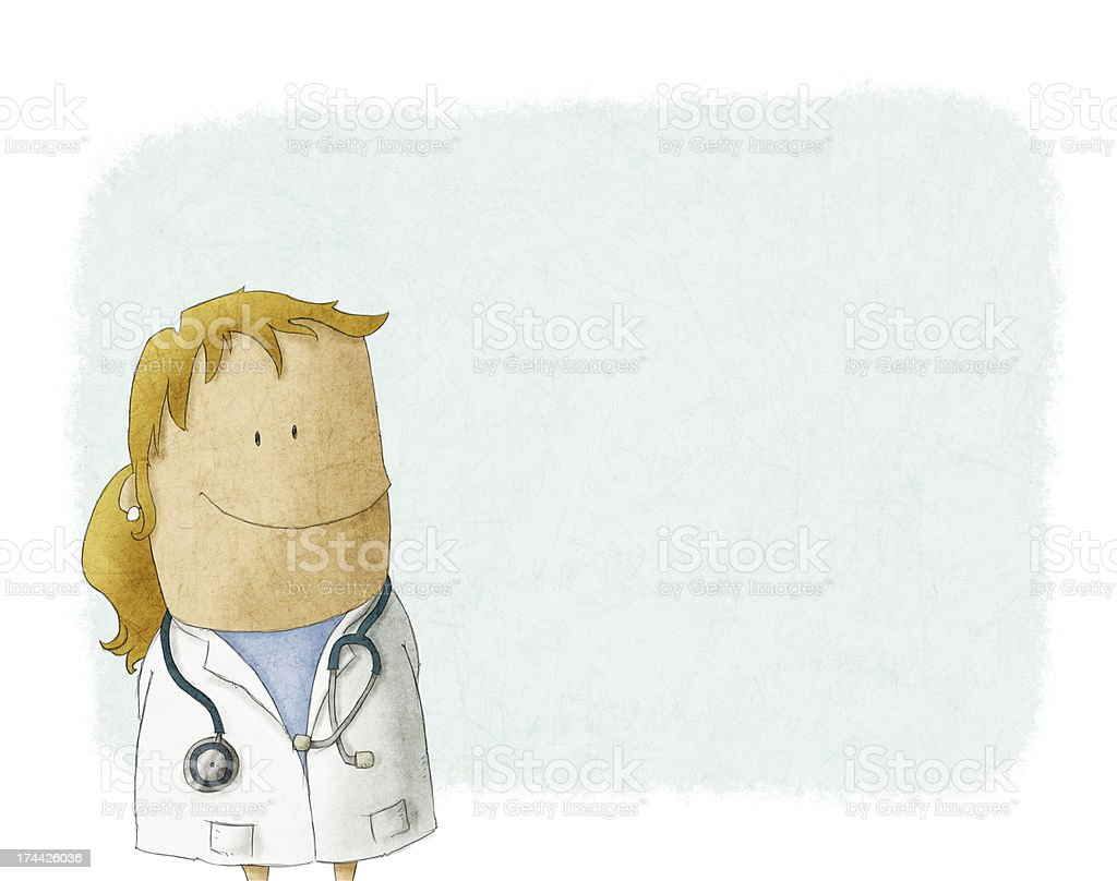 cartoon female doctor vector art illustration